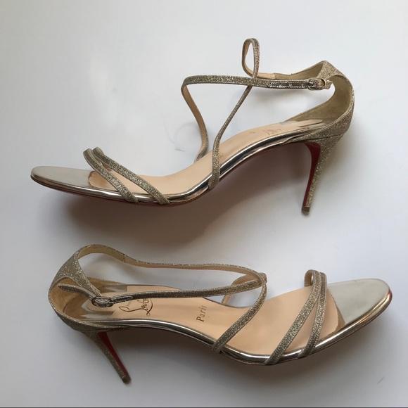 73ae65ea74e Louboutin Champagne Glitter Gwinee 70mm Sandals